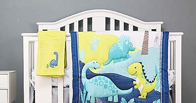 3D Dinosaur Nursery Baby Crib Bedding Set Boy Girl 4Piece for 28×52 Inch Washable Blue   Crib Comforter, Crib Sheet, Dust Ruffle,Blanket