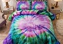 Sisher Tie Dye Boho Comforter Set Full/Queen Size, 3 Pieces(1 Purple Comforter, 2 Pillowcases) Kids Colorful Psychedelic Swirl Pattern Pink Bedding Sets for Girls Teens
