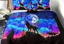 Sleepwish 3D Galaxy Comforter Full Men Wolf Bed Comforter Set 4 Piece Wolves Howling Bedding for Boys Retro Oil Painting Design Purple Blue and Black